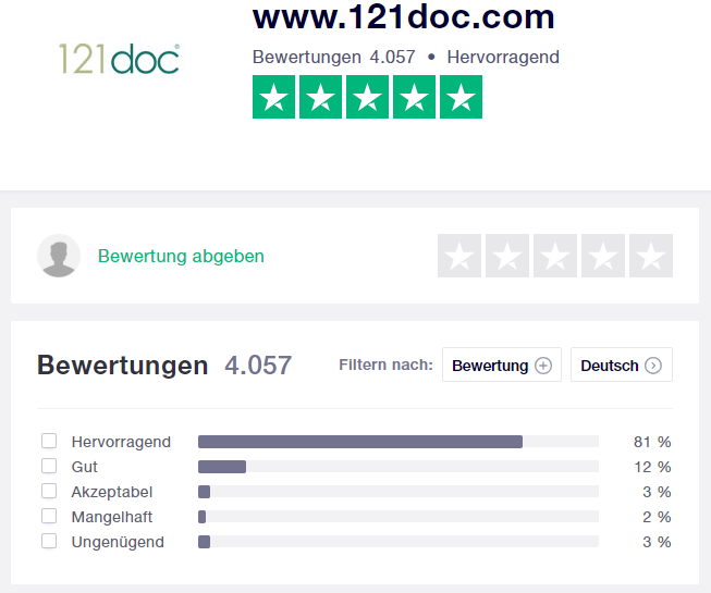 121doc Erfahrungsberichte bei Trustpilot